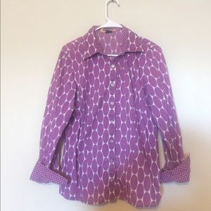 Boden button up classic shirt with purple dots 16